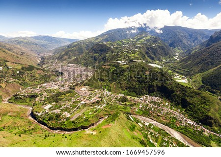 banos de agua santa aerial shot from nne pastaza river in the foreground and tungurahua volcano in the background volcanoe building canyon holiday earth active outdoor exploration ecuador outside land Stock fotó ©