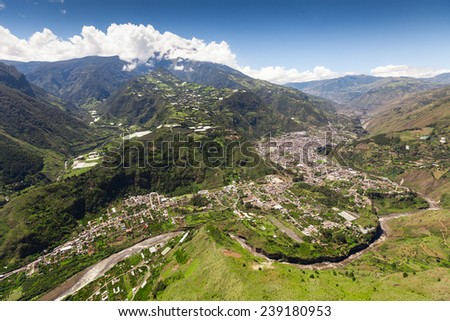banos de water santa claus aerial view shot from nne pastaza river in the foreground and tungurahua eruption in the background volcanoe building canyon vacation scenery energetic outside exploration e Stock fotó ©