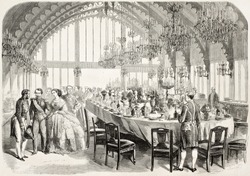 Banquet in honour of Napoleon III and empress Eugenie in Brest prefecture, old illustration. Created by Worms after photo of Bernier, published on L'Illustration, Journal Universel, Paris, 1858