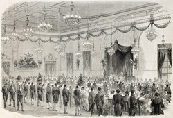 Banquet in the city hall of Lyon, France, old illustration. Created by Godefroy and Hernault, published on L'Illustration, Journal Universel, Paris, 1860