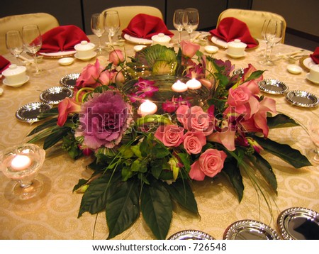 Banquet table decor in wedding