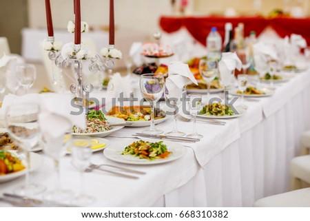 Banquet Table Decorated With Ornaments EZ Canvas - Banquet table setup ideas