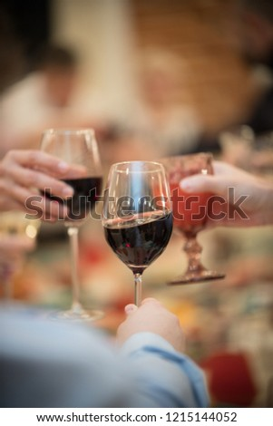 Banquet table in the restaurant. Wine glasses #1215144052