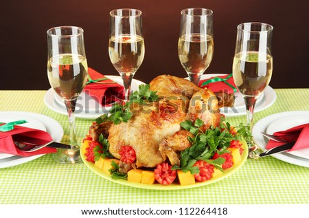 banquet table with roast chicken close-up. Thanksgiving Day