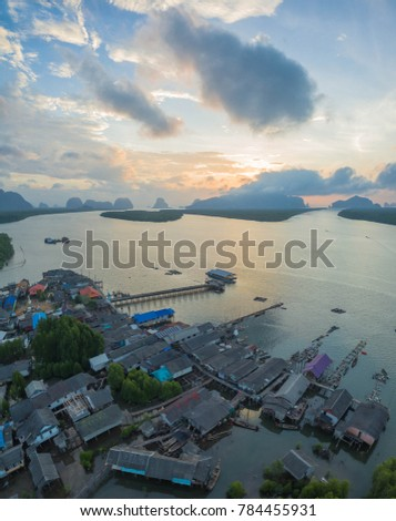 Bansamchong fishing village in Phang Nga province. the fishing village is inside the pine forest and mangrove forest. in front of Bansamchong fishing village have pier for transport to Andaman sea. #784455931