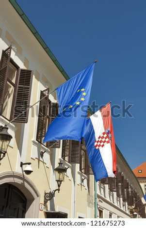 Banski dvori, the building of the Government of the Republic of Croatia with flags of European Union and Croatia. It was built by ban Ignaz Gyulai in first half of 19th century.