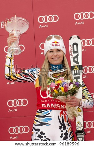 BANSKO, BULGARIA - FEBRUARY 26 :Lindsey Vonn (USA) takes 1st place during the Audi FIS Alpine Ski World Cup Ladies' Super G on February 26, 2012 in Bansko, Bulgaria