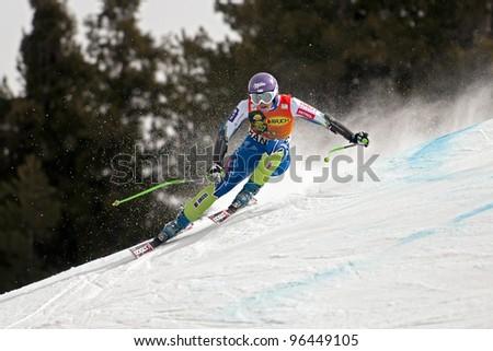 BANSKO, BULGARIA - FEBRUARY 26 :Tina Maze (SLO) competes in the Audi FIS Alpine Ski World Cup  Ladies' Super G on February 26, 2012 in Bansko, Bulgaria. - stock photo
