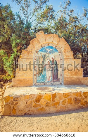 Baptism, Jordan. Bastism is place where Jesus of Nazareth was baptized by John the Baptist.