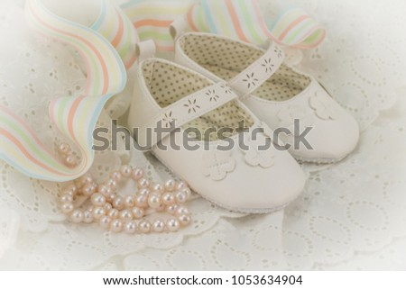 a64715a54e58 Baptism or birthday invitation background for baby girl with pink pearls