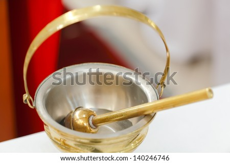Baptismal objects - Holy Water Pot and Holy Water with Sprinkler