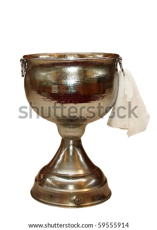 Baptismal urn in the Orthodox Church isolated on white background.