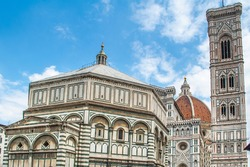 baptistery of san juan and cathedral famous for its dome, by brunelleschi, sunny day with clouds
