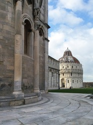 Baptistery on the Square of Miracles in the city of Pisa, Tuscany, Italy