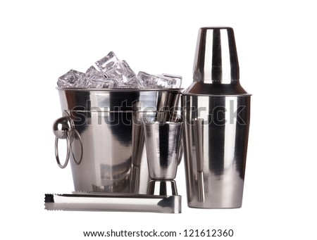 bar accessories with ice - bucket,shaker,tongs,jigger. isolated