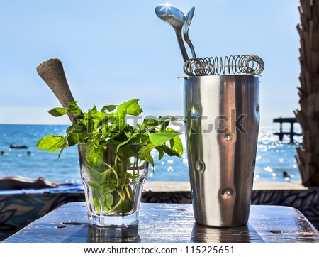 Bar accessories with inox shaker, mint in a glass on the Sea