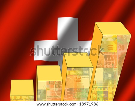 bar chart and rippled swiss flag with currency illustration - stock photo