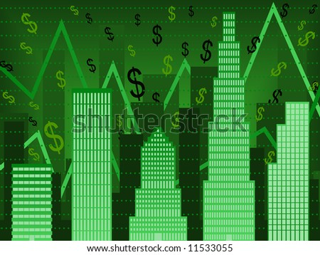 Bar chart composed of stylized buildings implying financial boom (vector version also available)