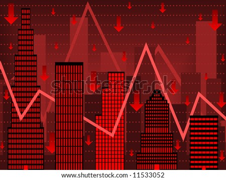 Bar chart composed of stylized buildings implying financial bust (vector version also available)