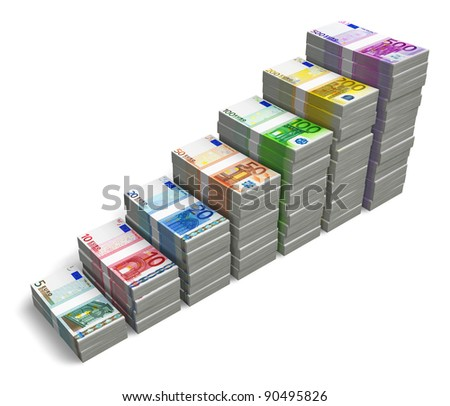 Bar chart from different Euro banknotes isolated on white background