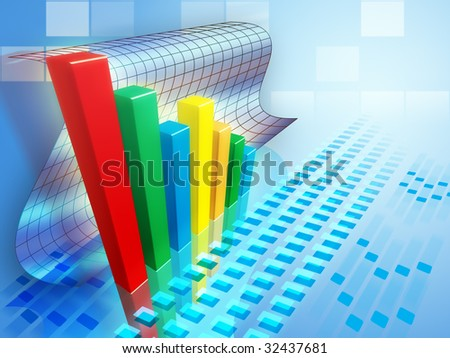 Bar chart indicating a positive trend. Digital illustration.