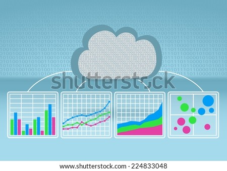 Bar chart, line chart, bubble chart in order to analyze big data from the cloud on light blue background with flat design