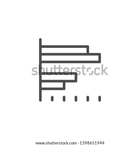 Bar chart line icon isolated on white