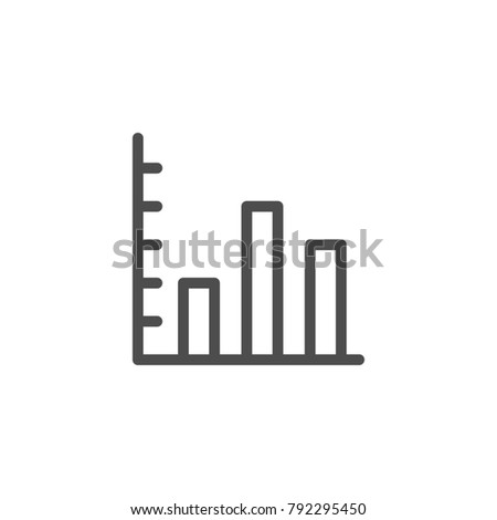 Bar chart line icon isolated on white. Vector illustration