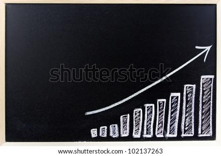 Bar chart on blackboard. Sales growth