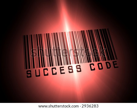 Bar code illustration with word success as text description