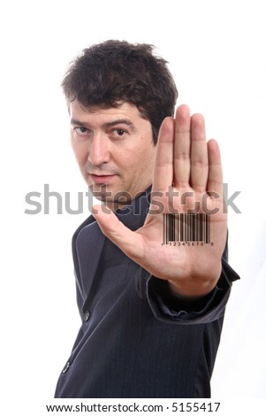 Bar code printed on hand - stock photo