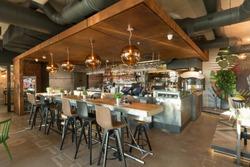 Bar counter in restaurant interior
