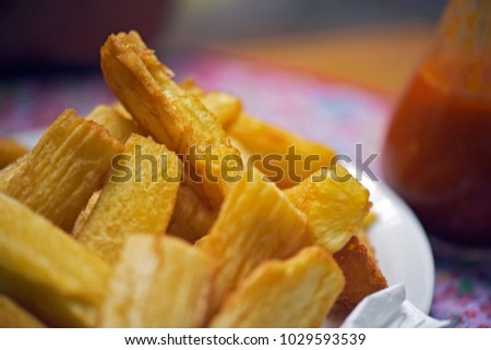 Bar food: fried manioc, much appreciated as appetizer or side disch in popular Brazilian bars and restaurants