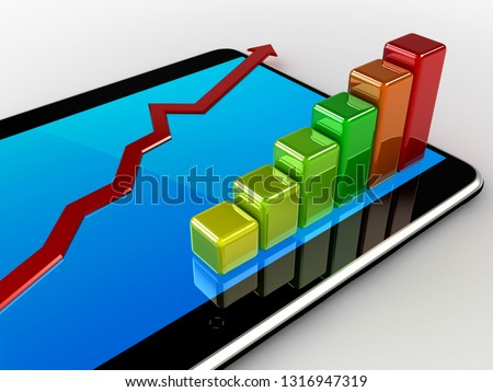 Bar graph - chart on tablet pc - Business statistic concept. 3D rendering illustration