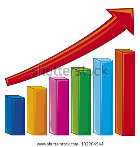 bar graph showing rise in profits or earnings (increase diagram)