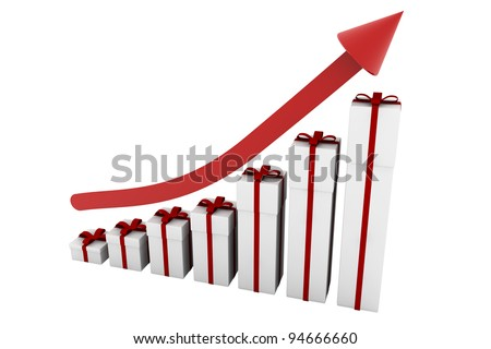 Bar graph with christmas gifts and red arrow pointing up