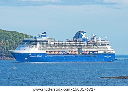 Bar Harbor, Maine/USA - September 12 2019: carrying over 2000 passengers, the cruise ship Celebrity Summit rides at anchor just off Bar Harbor,