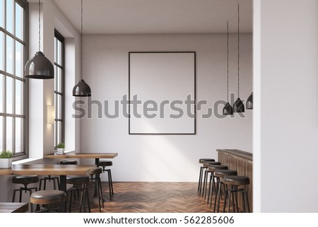 Bar interior with a row of tables near the windows, a counter with stools in the right part of the room and a framed vertical poster on a white wall. 3d rendering. Mock up.