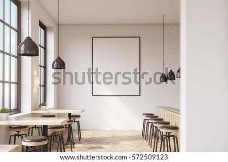 Bar interior with a row of tables near the windows, a counter with stools in the right part of the room and a framed vertical poster on a white wall, wooden floor. 3d rendering. Mock up.