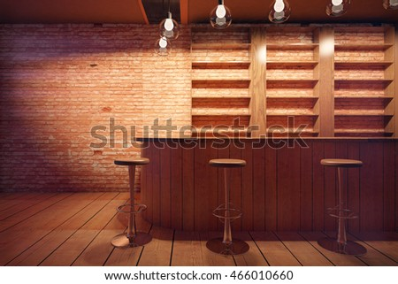 Bar interior with wooden counter, stools and shelves on brick wall background. 3D Rendering