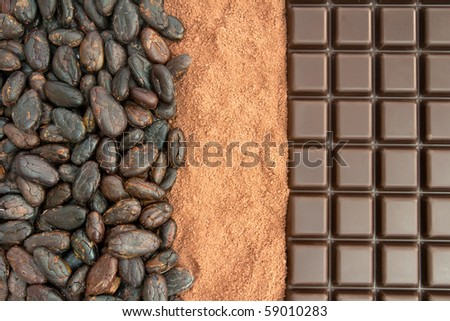 Bar of chocolate, cocoa powder and cocoa beans