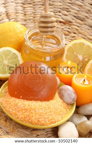 bar of gliceryne soap jar of honey and lemon - natural bath