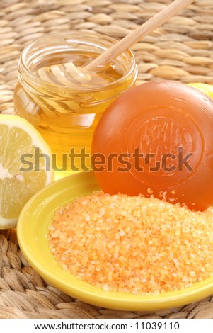 bar of gliceryne soap jar of honey and lemon - natural bath