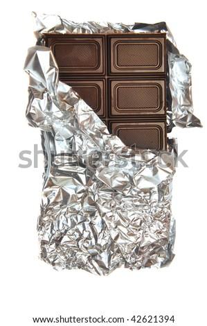 bar of milk chocolate in foil