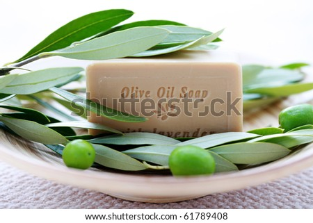 bar of organic olive oil soap with branch of olives - beauty treatment