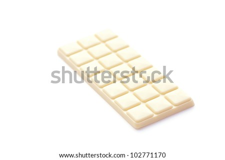 bar of white chocolate isolated on white