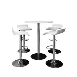 bar or office chairs and round table isolated on white background