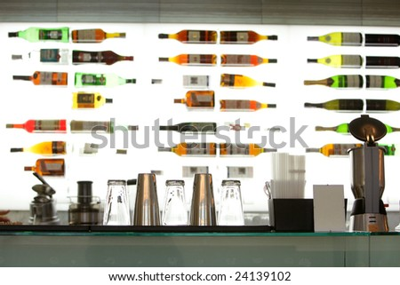 Bar rack at restaurant