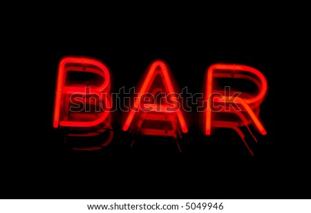 Bar signboard at night