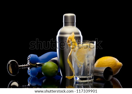 Bar still life with citrus on black background